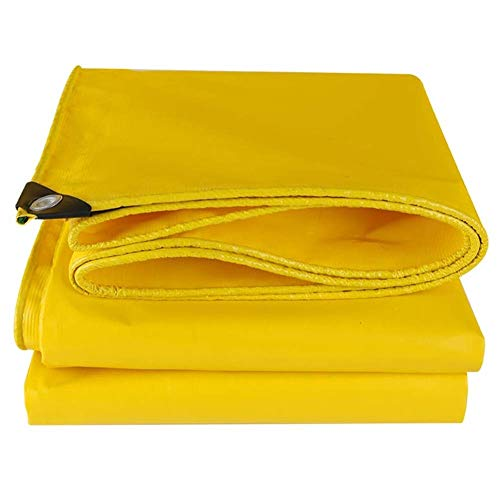 Tarpaulin with Grommets Multi-Purpose Waterproof Cloth Camping Gardening Warehouse Pier Cover Reinforcement Corner 500g/m² TIDLT (Color : Yellow, Size : 5x10m)