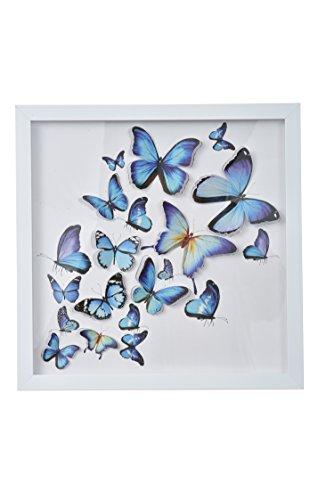 """Green Frog 3D Blue Butterfly Shadow Box Art 14"""" x 14"""" x 1"""" - Quality Plastic Frame, Plexiglass, Paper Cut Out Butterflies - Girls/Kids Bedroom Wall Art"""