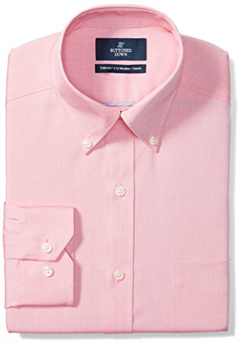 BUTTONED DOWN Men's Tailored Fit Button-Collar Solid Non-Iron Dress Shirt (Pocket), Pink, 20