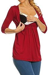 Zeta Ville - Women's Maternity Nursing Wrap Front T-shirt Top Shirt M-3XL - 372c (Crimson, 14)