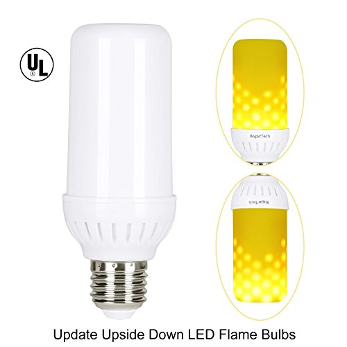 Flame Bulbs Fire Upside Down, HogarTech LED Flickering Flame Effect Light Bulb E26 Base, UL Listed, Simulated Atmosphere Lighting for Bar/Hotel/ Pathway/Festival Decoration - Upgraded Lamp 1 (Candle Energy Lamp)