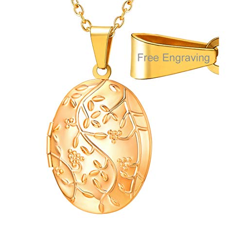 Flower Pendant Locket - U7 Locket Necklace That Holds Picture Oval/Round Shaped Flower Pattern Photo Lockets Pendant for Women Girls, Chain 22 Inch (E. Gold Oval Flowering (Personalized))