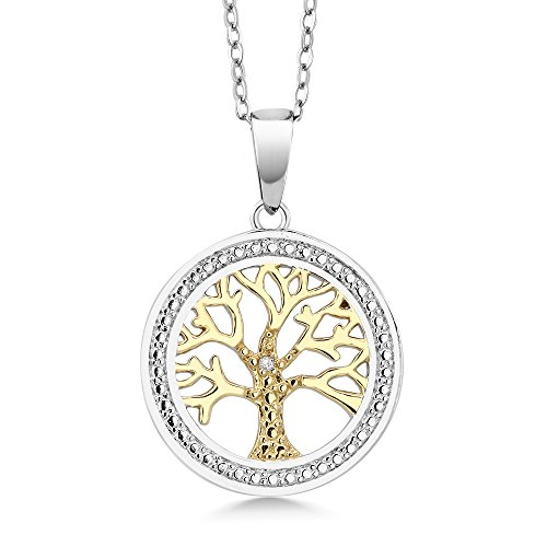 Gem Stone King Diamond Accent Tree Of Life Pendant Necklace 2-Tone 925 Sterling Silver 10MM with 18 Inch Silver Chain