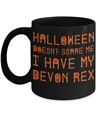 Halloween Devon Rex Mug - White 11oz Ceramic Tea Coffee Cup - Perfect For Travel And Gifts -