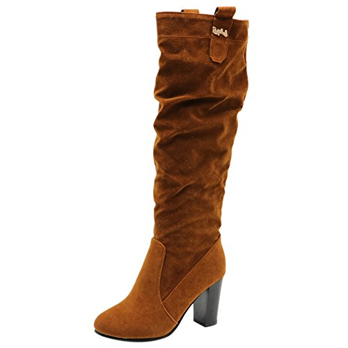 Casual Brown Chunky On Heel Pull High High Women Slouch Knee Coolcept Boots Hqa57Bw5x
