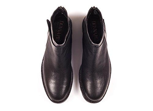 DONNA PIU Italienische Leder Boots mit Zip hinten, trendiger Profilsohle, schwarz / silber. Incl. Schuhputztuch
