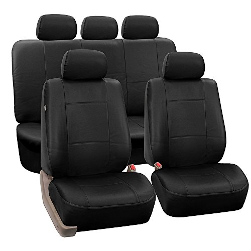 FH GROUP PU002115 Classic PU Leather Car Seat Covers , Airbag compatible and Split Bench, Solid Black Color - Fit Most Car, Truck, Suv, or Van (Leather Seat)