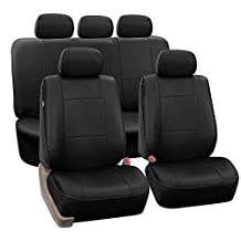 FH Group PU002BLACK115 Black Faux Leather Seat Cover (Full Set Airbags Ready and Split Bench Auto)
