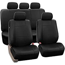 FH Group PU002BLACK115 Black Faux Leather Seat Cover (Full Set Airbag Compatible and Split Bench Cover)