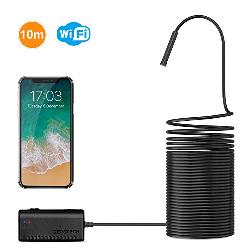 (Wireless Endoscope, DEPSTECH WiFi Borescope Inspection Camera 2.0 Megapixels HD Snake Camera for Android and iOS Smartphone, iPhone, Samsung, Tablet)