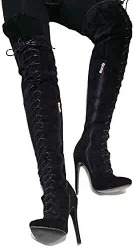 466fbd7265 Original Intention Women's Over-The-Knee Boots Faux Leather Heel Boots  Pointed Toe Black