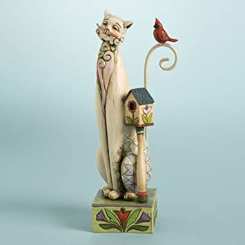 JIM SHORE TALL CAT WITH BIRDHOUSE – TILLY