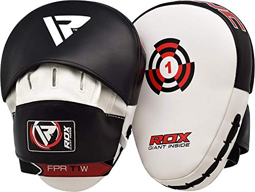 RDX Boxing Hook & Jab Pads MMA Target Focus Punching Mitts Thai Strike Kick Shield, White