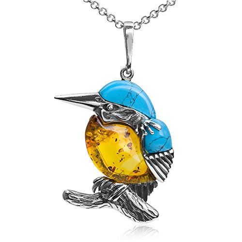 Sterling Silver Amber Turquoise Imitation Bird Pendant Necklace Chain 46 cm ()