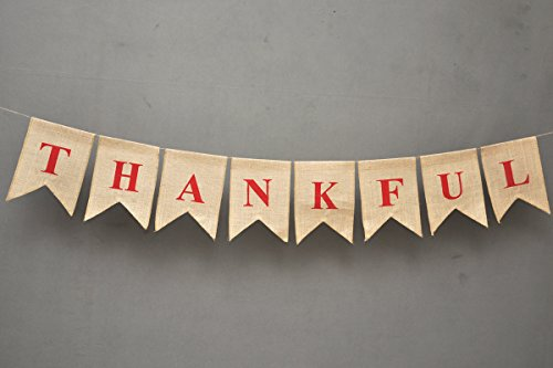 THANKFUL Burlap Banner - Ornate Give Thanks Flag Banner - Rustic Chic Party Décor - Engagement Wedding Bridal Shower Décor - Holiday Bunting-Home and Outdoor Banner - Elegant Grateful Banner