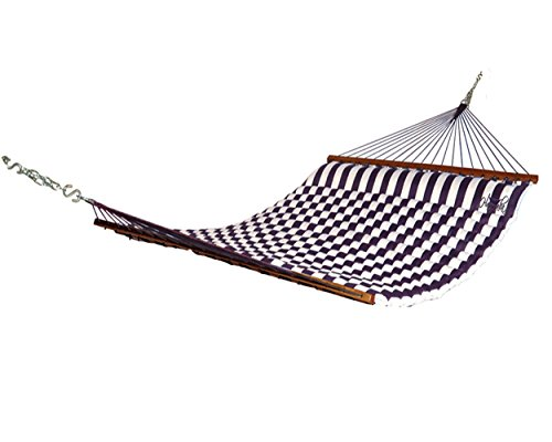 Hammaka Kings Pond Pillow Hammock - Color: Blue and white striped, green and white striped, or red and white striped. Materials: 600 denier polyester Finish: Dark hardwood spreader bars - patio-furniture, patio, hammocks - 41bYFR9CB L -