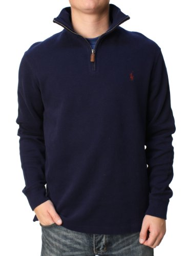 Navy Embroidered Zip - Polo Ralph Lauren Mens Half Zip French Rib Cotton Sweater (Large, Navy)
