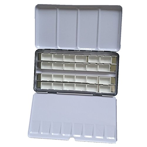 BOOYEE Watercolor Tins Palette Paint Case Metal Tin Box with 24Pcs Empty Full Pans ()