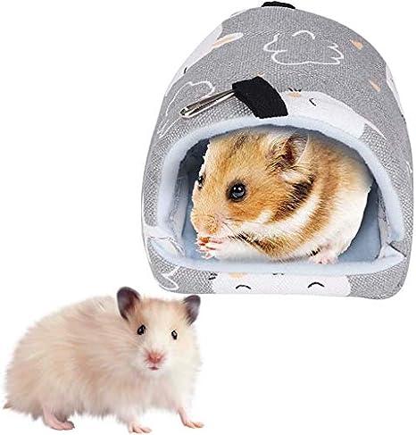 Sheens Hámster Hamaca Lona para Mascotas Cama abatible cálida y Saco de Siesta para hurón Rata Conejillo de Indias Ratones de jerbo Hámster Chinchilla(Conejo Gris)