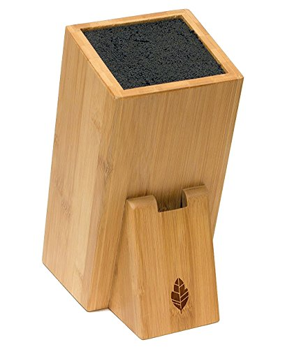 MyHomeIdeas Universal Bamboo Knife Block Stand - Wood Holder Safe Storage Space-Saver Organizer with Dishwasher Safe Removable Bristles - Eco-Friendly - Home & Kitchen (no (Wood Knife Holder)
