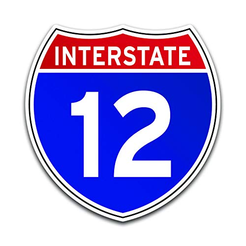 JB Print Magnet Interstate 12 Sign Interstate Highway Road Travel Driving Vinyl Decal Sticker Car Waterproof Car Decal Magnetic Bumper Sticker 5