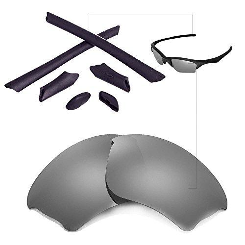 Walleva Replacement Lenses Or Lenses/Rubber Kit for Oakley Half Jacket XLJ Sunglasses - 41 Options (Titanium Polarized Lenses + Black Rubber)
