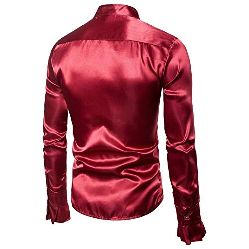 Manica Collare Camicetta Casual Top Sera Rosso Lunga Spiccano Modo Uomini Solida Autunno Camicie Bhydry Praty Di zqwOnY