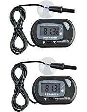 JZK 2 x Mini Digital Aquarium Thermometer mit Saugnapf, Sonde & Batterie, LCD-Display für Terrarium, Aquarium und Vivarium