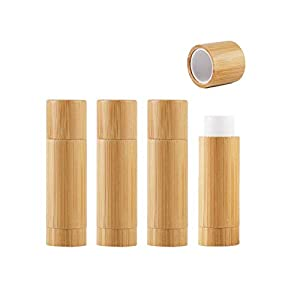 4 Pieces 5.5ml /5.5g Empty Bamboo Lipstick Tubes Refillable Lip Balm Lip Gloss Tube Holder Containers with Lids for DIY Make Up Cosmetic Travel Daily Life 82