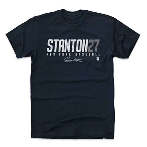 500 LEVEL Giancarlo Stanton Cotton Shirt Small True Navy - New York Baseball Fan Apparel - Giancarlo Stanton Stanton27 W WHT
