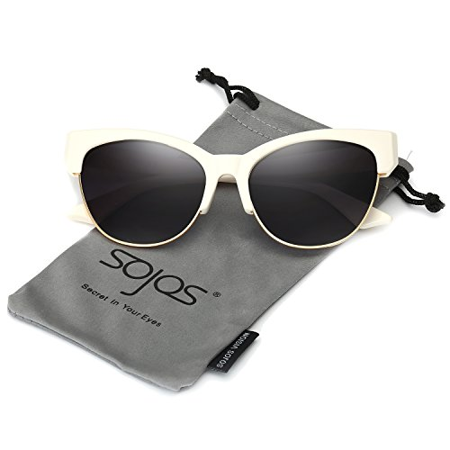 - SOJOS Womens Classic High Pointed Half Frame Cat Eye Sunglasses SJ2026 with Beige Frame/Grey Lens