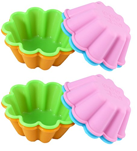 Bakerpan Silicone Mini Cake Pan, Flower Shape Large Muffin Cup, 3 1/2 Inch Baking Cups (8)