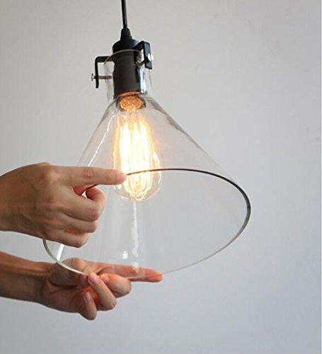 Kiven H-Type 3 Wire Glass Track Light Pendants Length 39.37 Restaurant Chandelier Decorative Chandelier Instant Pendant Light Bulb not Include Industrial Factory Pendant Lamp (TB0265-B) by Kiven (Image #6)