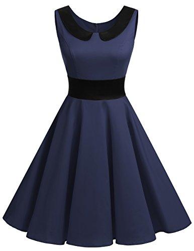 Dresstells® Vestido Corto Mujer Verano Retro Vintage Cóctel Fiesta Rockabilly Navy