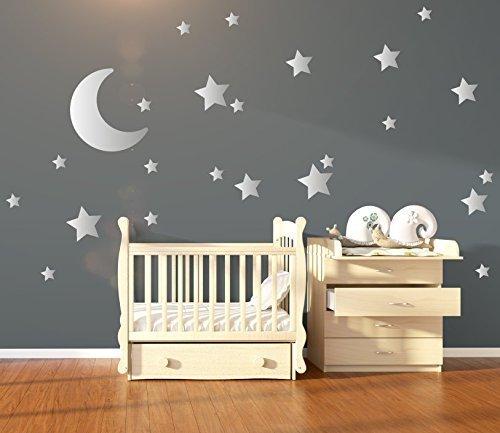 silver metallic nursery wall stickers decals large moon stars