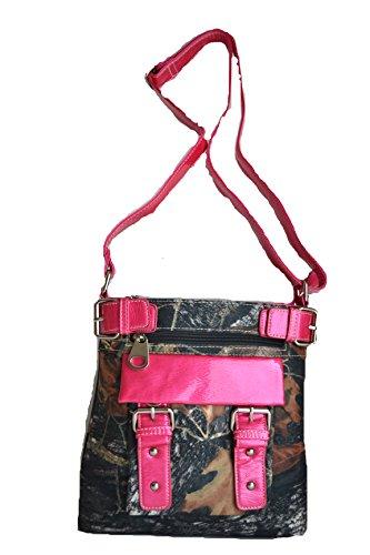 Western Camo Mossy Oak Belt Buckle Messenger Cross Body Satchel Purse Bag (Hot Pink) (Metallic Handbag Buckle)
