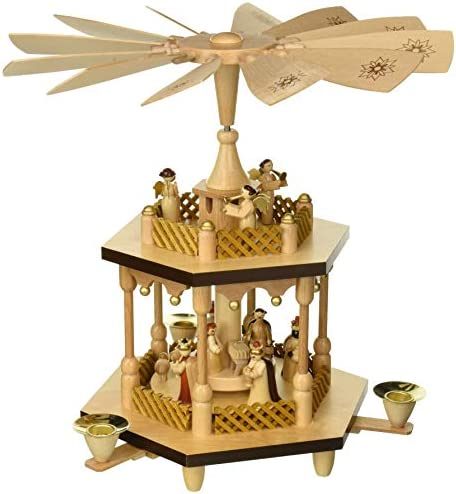 Alexander Taron 1371 Richard Glaesser Pyramid-2 Tiers Nativity Scene and Angel Musicians-12.5 H W x 12.5 , Brown
