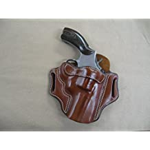 """Smith & Wesson S&W 10, 19, 66, 686, 586 2""""-3"""" Revolver Leather 2 Slot Molded Pancake Belt Holster CCW TAN RH"""