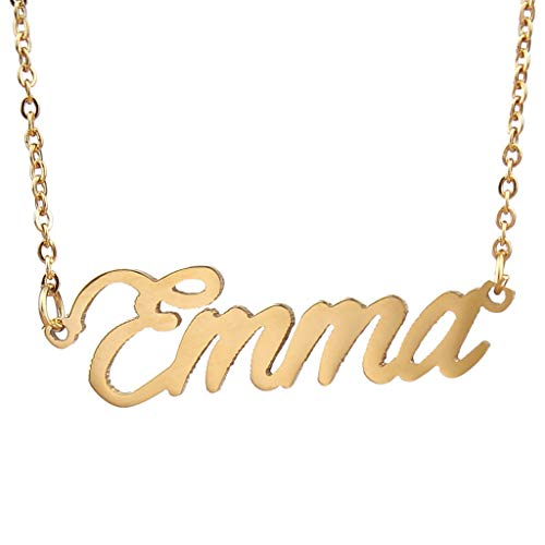 (AIJIAO 18k Gold Plated Script Nameplate Name Necklace Personalized Choker Women Gift/Emma Gold)