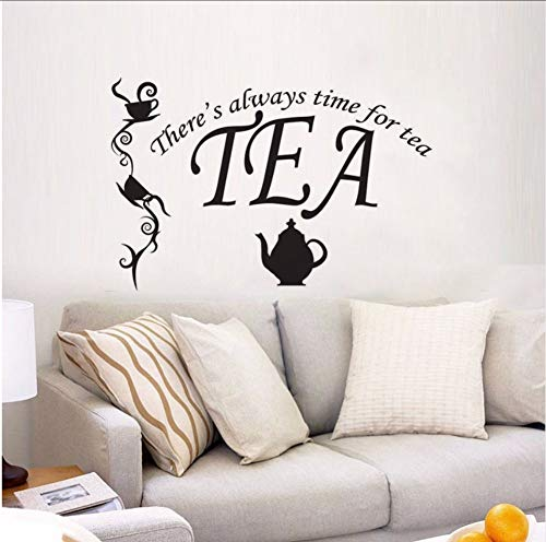 LSFHB Always Time for Tea Quote Wall Decal Alice in Wonderland Vinyl Wall Sticker Kids Room Decor Tea Time Vinyl Wall Mural 42X28Cm -