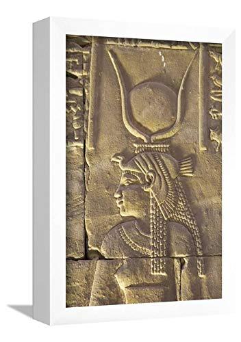 ArtEdge Relief Depicting The Goddess Hathor, Temple of Horus, Edfu, Egypt, North, Africa by Richard Maschmeyer, Wall Art Framed Print, 12x8, White ()