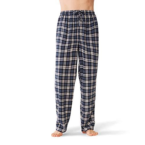SIORO Mens Pajama Pants Soft Flannel Cotton Sleepwear Bottoms Long Plaid Loungewear, Navy and White Plaid, M - Navy Plaid Flannel Pajama