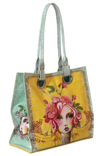 Papaya Art Love Who You Are Rose Victorian Girl Oil Cloth Tote Handbag Purse, Bags Central