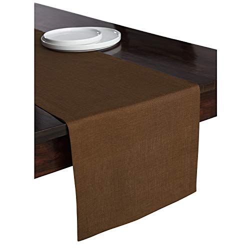 Solino Home 100% Pure Linen Table Runner - 14 x 48 Inch Athena, Handcrafted from European Flax, Natural Fabric Runner - Brown