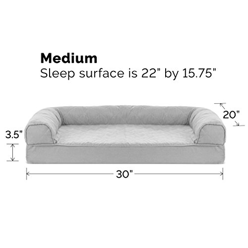 Image of FurHaven Pet Dog Bed | Orthopedic Quilted Sofa-Style Couch Pet Bed for Dogs & Cats, Silver Gray, Medium