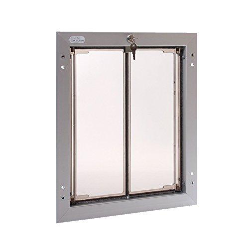 (PlexiDor Aluminum Dog Door for Door Mounting - Energy Efficient Weatherproof Performance Pet Door with Lock and Security Panel for Dogs & Extreme Dog Fence Grooming Glove Bundle)