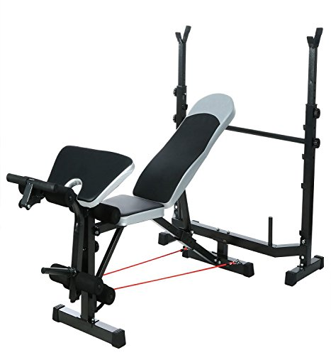 660lbs Olympic Weight Bench, Multi-Function Adjustable Workout Bench Set, Preacher Curl, Leg Developer, Crunch Handle, Supports Barbell for Indoor Exercise(US Stock)
