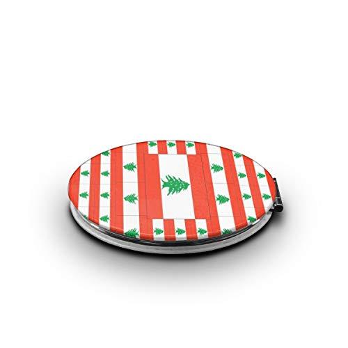 ZORITO Makeup Mirror Lebanon Flag Double-Sided Portable Folding Mirror Stainless Steel -
