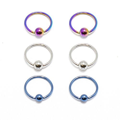 BodyJewelryOnline Captive Bead Ring 6pc 18G Anodized Titanium Nose Lip Ear Cartilage Septum CBR Blue Titanium Anodized Captive Ring