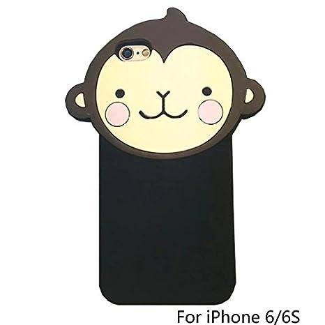 fd14f54add8 iPhone 5 Funda, jxtong de mono diseño de mono de dibujos animados 3d con  corona de silicona suave para iPhone 5/5S, compatible con Apple iPhone 6:  ...